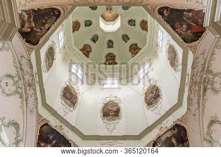 Feb 4, 2020 - Salzburg, Austria: Upward Window Of Onion Dome Of St Peter Abbey Church In Rococo Flor