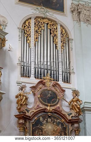 Feb 4, 2020 - Salzburg, Austria: Organ Pipe With Rococo Floral Decoration Inside St Peter Abbey Chur