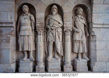 Budapest, Hungary - July 12, 2019: Arpad-era Warrior Statues Guarding The Gate Of Fisherman's Bastio