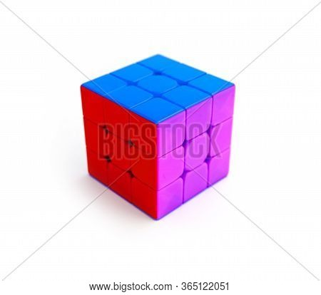 Italy, Milano - 10 April 2020: Rubik's Cube Puzzle, Isolated On White Background.
