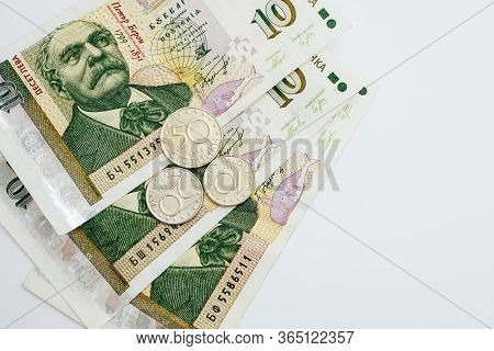 Photo Depicts The Bulgarian Currency Banknote, 10 Leva, Bgn, Close Up. Modern Filter. Denomination.