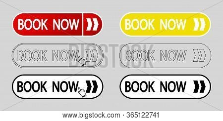 Book Now Buttons. Simple Beautiful Text Book Now Buttons. Book Now Internet Icons Set. Web Design El