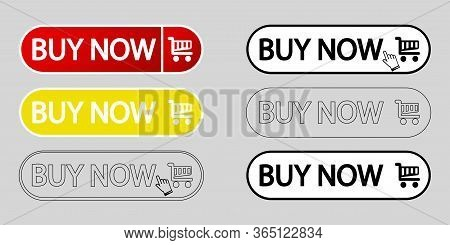Buy Now Web Buttons. Set Of Vector Modern Trendy Flat Buttons. Trendy Colors Buy Now. Red, Yellow, W