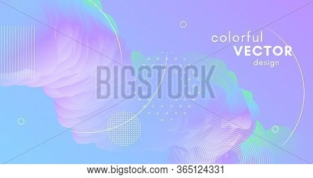 3d Vibrant Background. Pastel Bright Design. Vector Creative Concept. Wave Abstract Motion. Fluid Vi