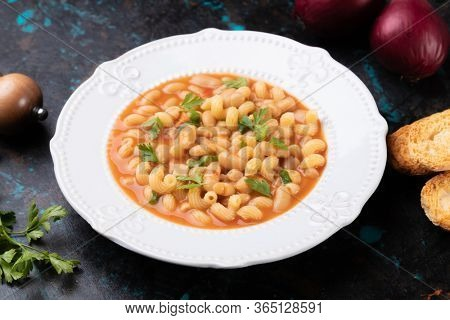 Italian style pasta fagioli dish with macaroni and kidney beans