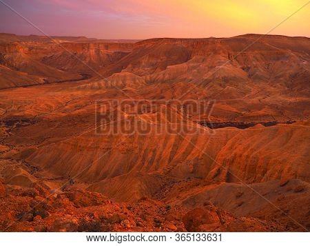 Beautiful Sunset Over The Hills Negev Desert, Ramon Crater In Israel Major Tourist Attraction Destin