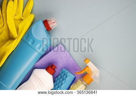 Set Of Cleaning Products For General Cleaning And Maintenance Of Cleanliness, Top View. Household Go