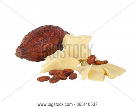 Pieces Of Natural Cocoa Butter With Cocoa Beans And Cocoa Pod  Isolated On White Background. Macro P