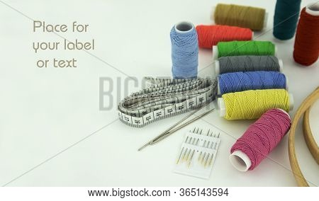 Set Of Embroidery Threads On A White Background