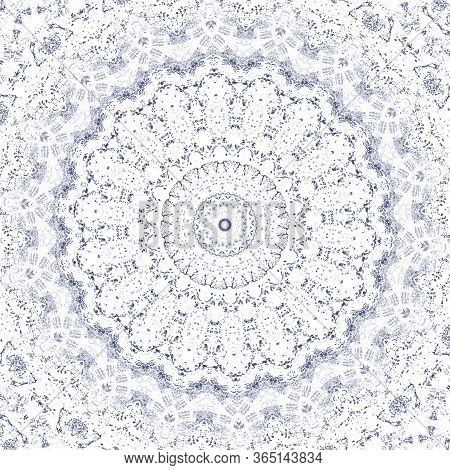 Sketch For Ceramic Tiles. Blue Symmetrical Pattern On A White Background. Seamless.