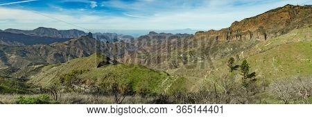 Super Wide Panorama. Aerial View Of The Center Of Gran Canaria. Famous Bentayga Rock In Huge Caldera