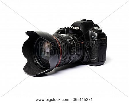 Odessa, Ukraine - May 5,2020: Photo Of Canon Eos 5d Mark 3 Camera With Ef 24-70 F2.8l Lens On White