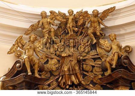 ZAGREB, CROATIA - NOVEMBER 12, 2012: Saint Aloysius Gonzaga Surrounded by Angels, St. Aloysius Gonzaga Altar in the Franciscan church of St. Francis Xavier in Zagreb, Croatia