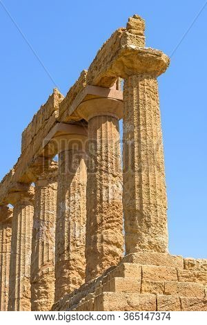 Closeup Of Ruins Of The Temple Of Juno In The Valley Of The Temples In Agrigento, Sicily, Italy