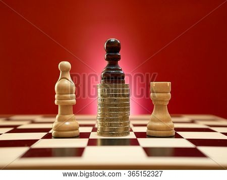 Cheating And Doping Concept. Black Pawn Using An Unfair Advantage To Win A Contest.