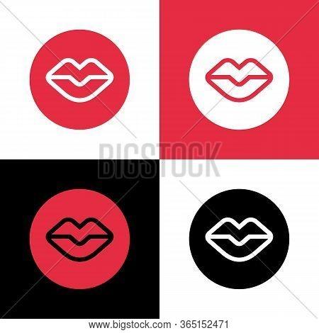 Human Lips Symbol, Circle Shape Lip Icon, Mouth Logo Illustration - Vector