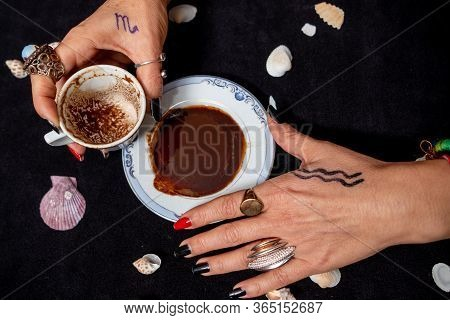 Turkish Coffee  And Fortune Telling Female Hand.