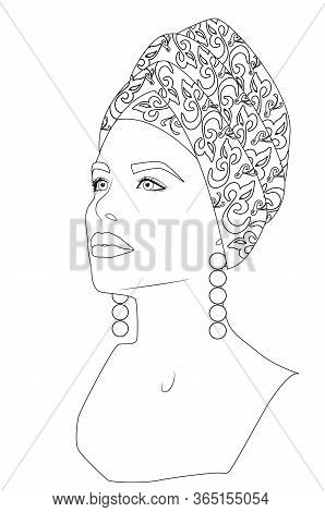 Portrait Of Young Beautiful Woman Wearing Print Turban And Long Pearl Earrings, Long Neck, Proud Pos