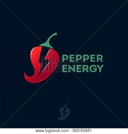 Spicy, Red Pepper Logo. Energy Food Logo. Chilli With Lightning Symbol. Icon Very Sharp Seasonings.