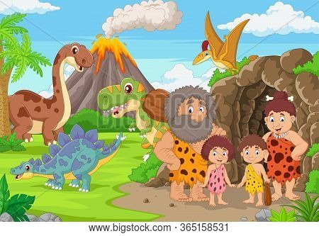 Vector Illustration Of Group Of Cartoon Cavemen And Dinosaurs In The Forest