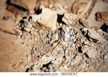 Disintegrating rubbles or stone, Shallow depth of field macro.