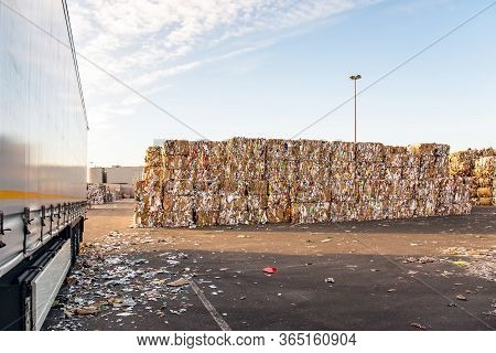 Truck Loading Dock  . Recycle Industry . Paper And Cardboard For Recycling .