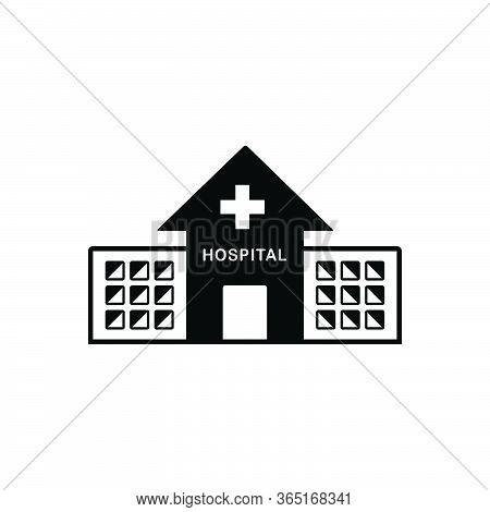 Black Solid Icon For Hospital Asylum Clinic Dispensary Building
