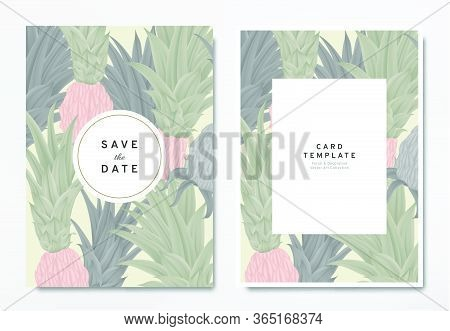 Greenery Wedding Invitation Card Template Design, Colored And Black Bromeliaceae With Circle And Rec