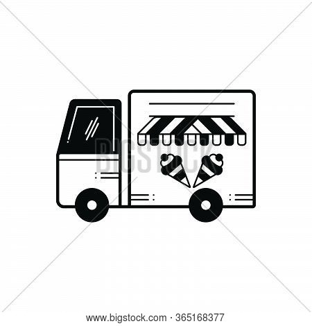 Black Solid Icon For Icecream Van Vechicle Conveyance Carriage