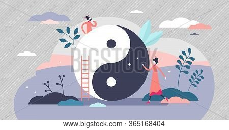 Yin And Yang Vector Illustration. Balance Symbol Flat Tiny Persons Concept. Chinese Opposite Forces