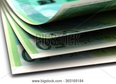 New Israeli Shekel Currency Closeup 3d Rendering