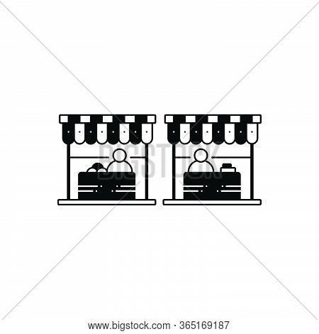 Black Solid Icon For Market Marketplace Bazaar  Shop Stall  Sale