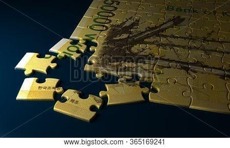 Korean Won Puzzle On Blue Background 3d Rendering