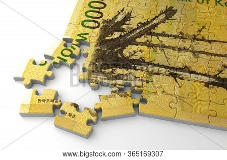 Korean Won Puzzle (isolated On White Background) 3d Rendering