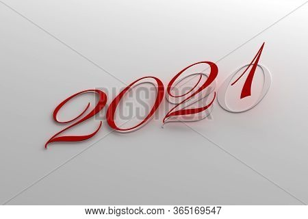 New Year 2021 And Old 2020 (on Gray Background) 3d Rendering