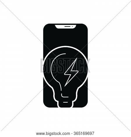 Black Solid Icon For Power Phone Strength Potency Vigor