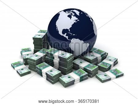 Global Business With Colombian Pesos (isolated On White Background) 3d Rendering