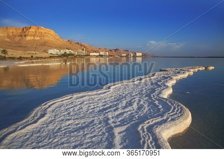 Salt Deposits, Typical Landscape Of The Dead Sea, Israel.