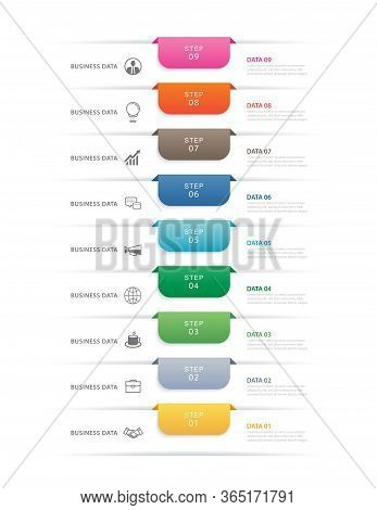 9 Data Step Infographics Timeline Tab Paper Index Template. Vector Illustration Abstract Background.