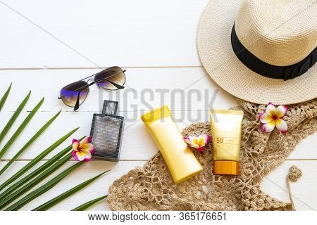 Sunscreen Spf50 ,body Lotion Crochet ,flowers Frangipani ,sunglasses ,hat And Perfume Accessories Of