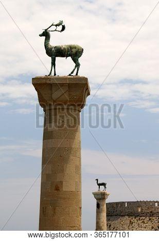 Stag Statue, Deer Statue In Mandraki Harbour, Rhodes, Greece