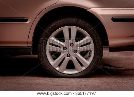 Old Car Tires Are Broken. Poor Travel. Failure To Destination. Damage.