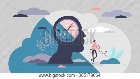Circadian Rhythm Concept, Tiny Person Vector Illustration. Day And Night Cycle Scheme. Daily Human B