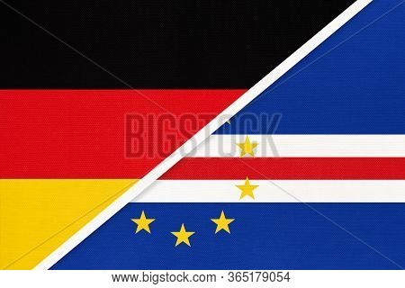 Federal Republic Of Germany Vs Cape Verde Or Cabo Verde, Symbol Of Two National Flags From Textile.