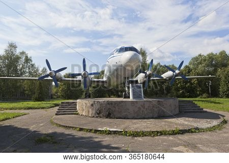 Vologda, Russia - August 20, 2019: Turboprop Il-18 Passenger Plane On A Pedestal At The Vologda Airp