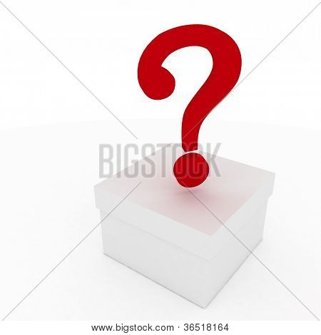 closed box with question mark. 3d illustration isolated on white background.