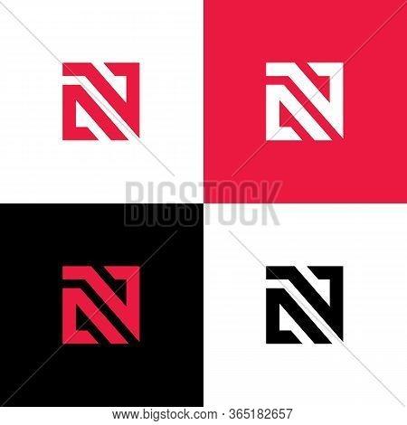 Initial Letter An Na Av Va Logo Template, Square Shape Typography Illustration - Vector
