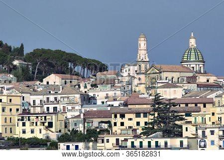 Vietri sul Mare town with Church S. Giovanni Battista on Amalfi coast in Campania
