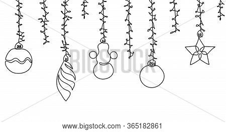 Christmas Decorations, Christmas Toys Simple Contour. Seamless Vector Border On White Background. On
