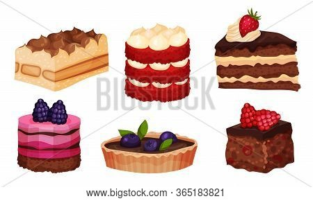 Sweet Layered Desserts And Cakes With Whipped Cream And Berry Topping Vector Set